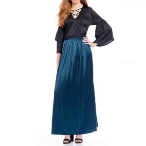 Skies Are Blue A-Line Pleated Maxi Teal Long Skirt